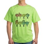 Captioned SIGN BABY SQ Green T-Shirt
