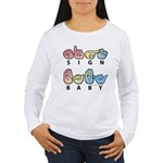 Captioned SIGN BABY SQ Women's Long Sleeve T-Shirt