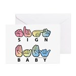 Captioned SIGN BABY SQ Greeting Cards (Pk of 10)