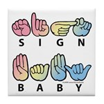 Captioned SIGN BABY SQ Tile Coaster