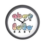 Captioned SIGN BABY SQ Wall Clock