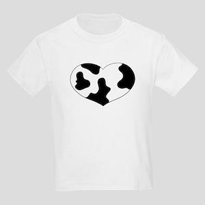 Cow Print Heart Kids T-Shirt