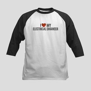 I Love My Electrical Engineer Kids Baseball Jersey