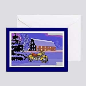 Scenic Motorcycle Christmas Greeting Card