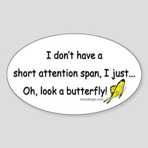 Attention Span Butterfly Sticker (Oval)