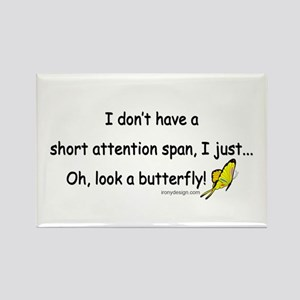 Attention Span Butterfly Rectangle Magnet