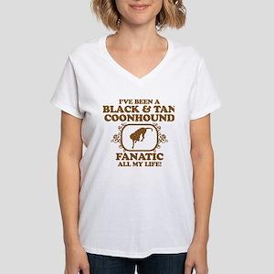 Black & Tan Coonhound Women's V-Neck T-Shirt