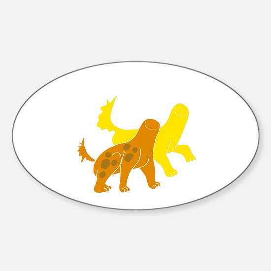 Yellow monster Oval Decal