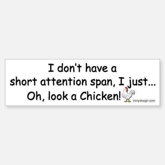 Short Attention Span Chicken Sticker (Bumper)