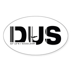 Dusseldorf Airport Code Germany DUS Oval Decal