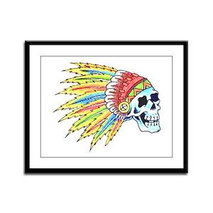 Indian Chief Skull Tattoo Framed Panel Print