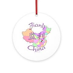 Jianli China Map Ornament (Round)