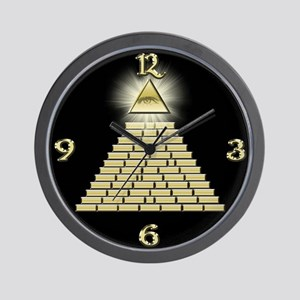 All Seeing Eye Pyramid 2 Wall Clock