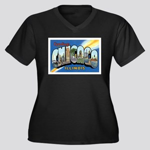 Chicago Illinois IL Women's Plus Size V-Neck Dark