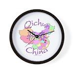 Qichun China Map Wall Clock