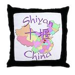 Shiyan China Map Throw Pillow