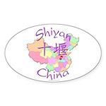 Shiyan China Map Oval Sticker (10 pk)