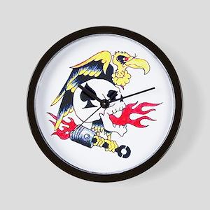 Vulture Skull Tattoo Art Wall Clock
