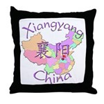Xiangyang China Map Throw Pillow