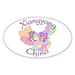 Xiangyang China Map Oval Sticker (10 pk)