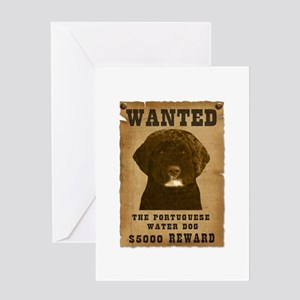 """""""Wanted"""" Portuguese Water Dog Greeting Card"""