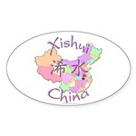 Xishui China Map Oval Sticker (10 pk)