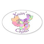 Xuan'en China Map Oval Sticker (10 pk)