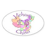 Yichang China Map Oval Sticker (10 pk)