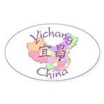 Yichang China Map Oval Sticker (10 pk)
