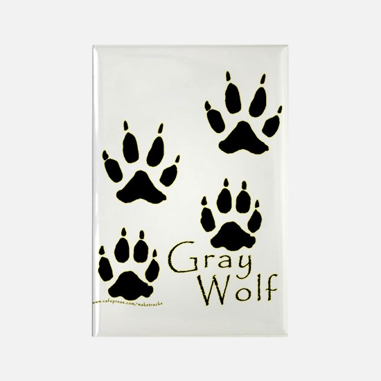 Gray Wolf Track Design Rectangle Magnet