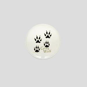 Gray Wolf Track Design Mini Button