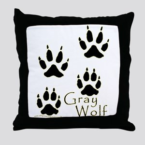 Gray Wolf Track Design Throw Pillow