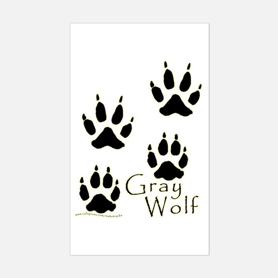 Gray Wolf Track Design Rectangle Decal