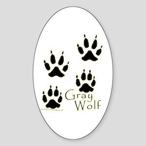 Gray Wolf Track Design Oval Sticker