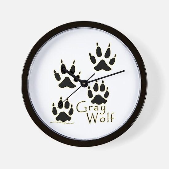 Gray Wolf Track Design Wall Clock