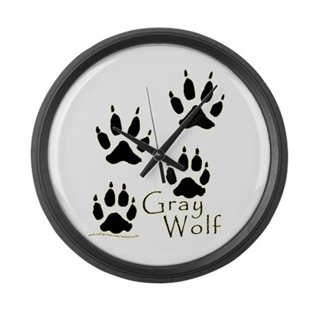 Gray Wolf Track Design Large Wall Clock