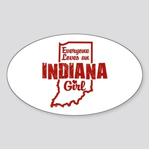 Indiana Girl Oval Sticker
