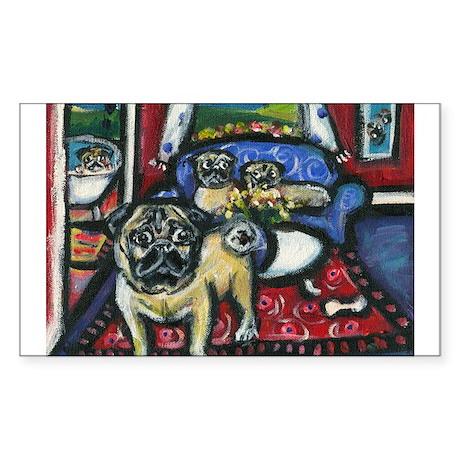 House o pugs Rectangle Sticker