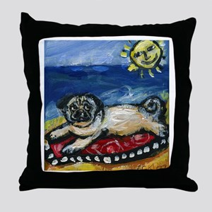 Pug sunbathin at the beach Throw Pillow