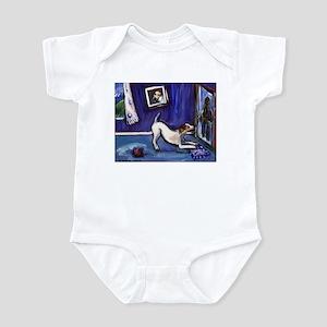 Jack russell blue room door g Infant Bodysuit