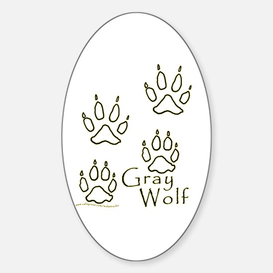 Gray Wolf Tracks 2 Oval Decal