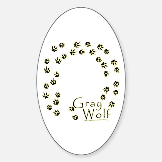 Wandering Wolf Tracks Oval Decal