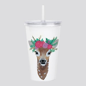 Fawn with Flower Crown Acrylic Double-wall Tumbler