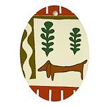 Weiner Dog Oval Ornament