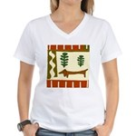 Weiner Dog Women's V-Neck T-Shirt