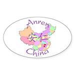 Anren China Map Oval Sticker (10 pk)