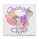 Changde China Map Tile Coaster
