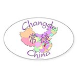 Changde China Map Oval Sticker (10 pk)