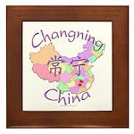 Changning China Map Framed Tile