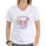 Changning China Map Women's V-Neck T-Shirt
